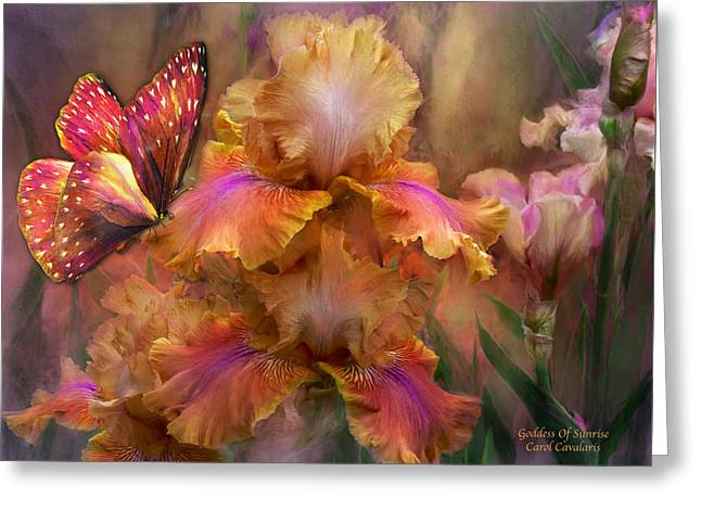 Goddess Of Sunrise Greeting Card by Carol Cavalaris