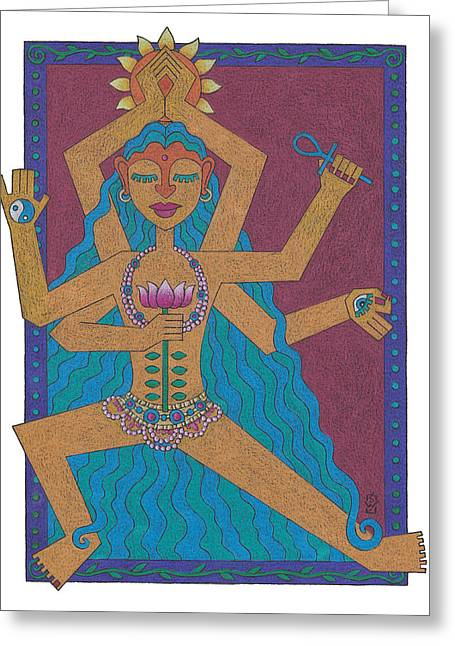 Goddess Of Well-being Greeting Card by Sharon Woodward