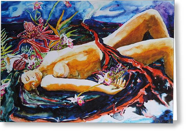 Goddess Pele Ll Greeting Card by Diane Renchler