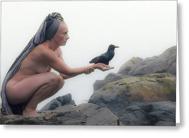 Goddess With Raven Greeting Card