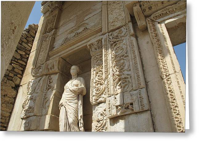 Godess Statue At The Library Of Celsius Ephesus Greeting Card