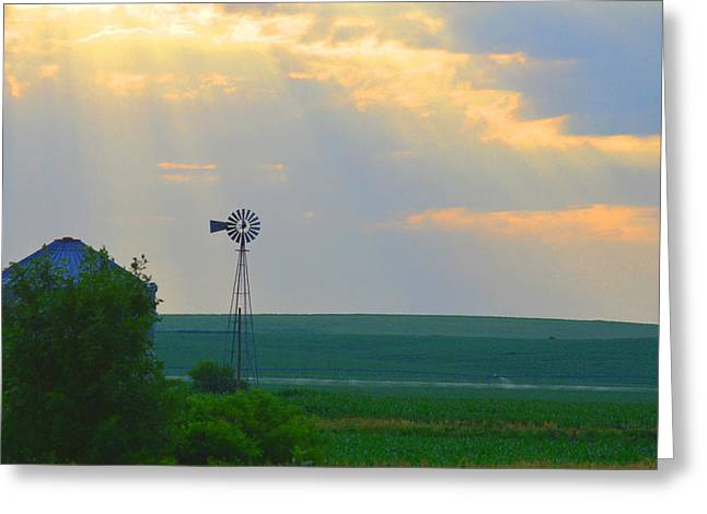 God's Light Over Windmill Greeting Card