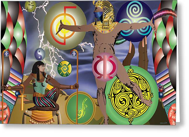 Gods Of Energy Greeting Card by Charles Smith
