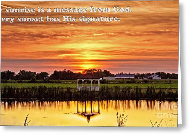 God's Signature Greeting Card by Tom Gari Gallery-Three-Photography