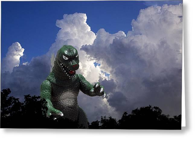 Godzilla Attacks Greeting Card by William Patrick