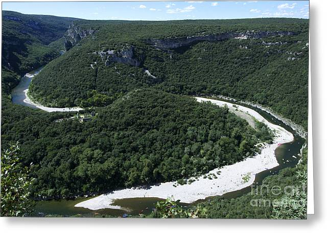 Going Down Ardeche River On Canoe. Ardeche. France Greeting Card by Bernard Jaubert