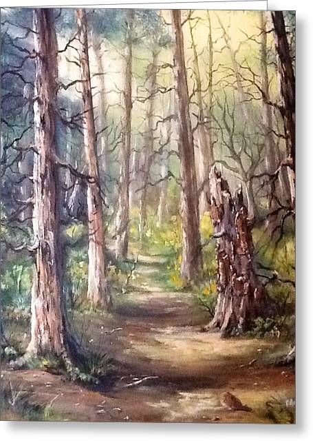 Greeting Card featuring the painting Going For A Walk by Megan Walsh