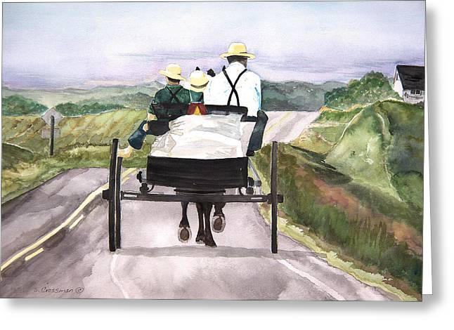 Going Home From Market Greeting Card by Susan Crossman Buscho