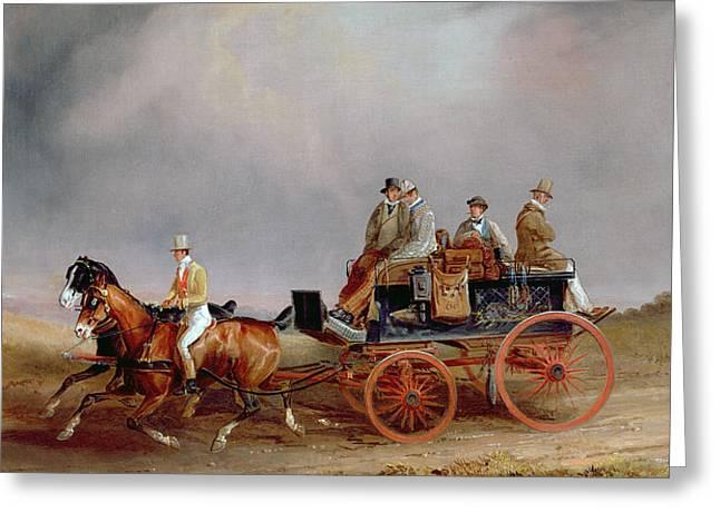 Going Shooting A Postillion And Pair With A Game Cart Greeting Card by Charles Cooper Henderson