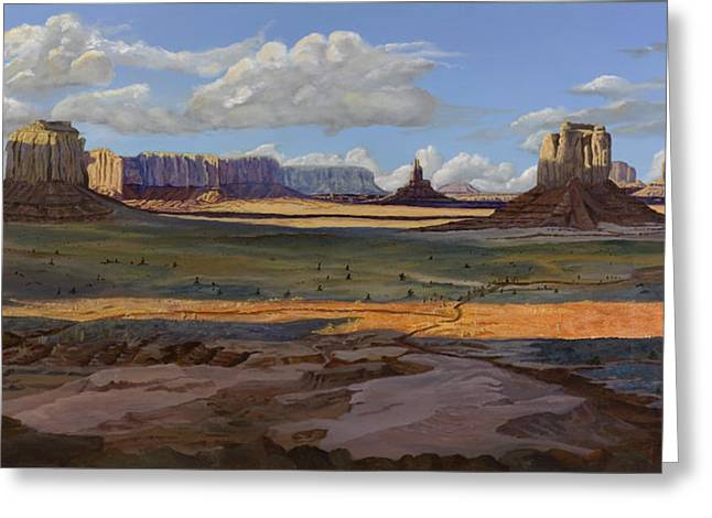 Gold Across The Valley Monument Valley Greeting Card