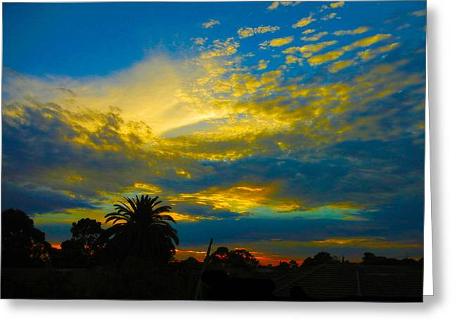 Gold And Blue Sunset Greeting Card by Mark Blauhoefer