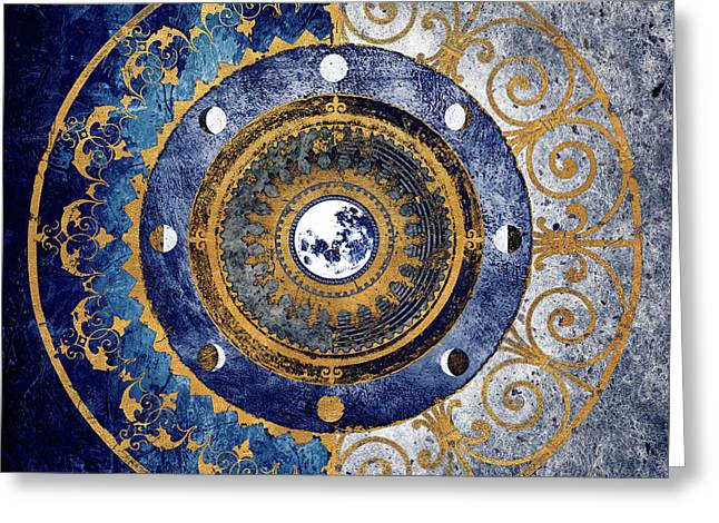 Gold And Sapphire Moon Dial I Greeting Card by Michael Marcon