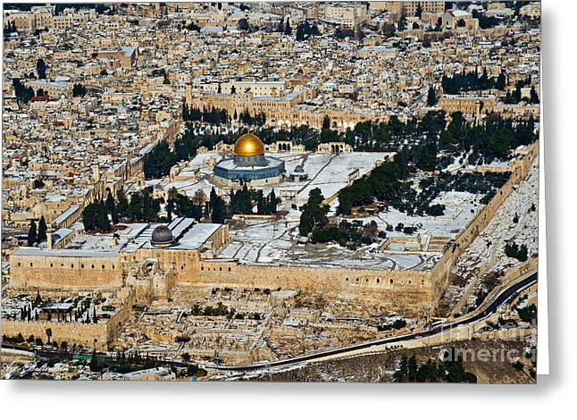 Gold And White In Jerusalem. Greeting Card