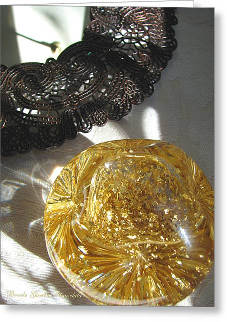 Greeting Card featuring the photograph Gold Ball And Frame by Brooks Garten Hauschild