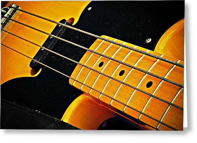 Gold Bass And Strings  Greeting Card by Chris Berry