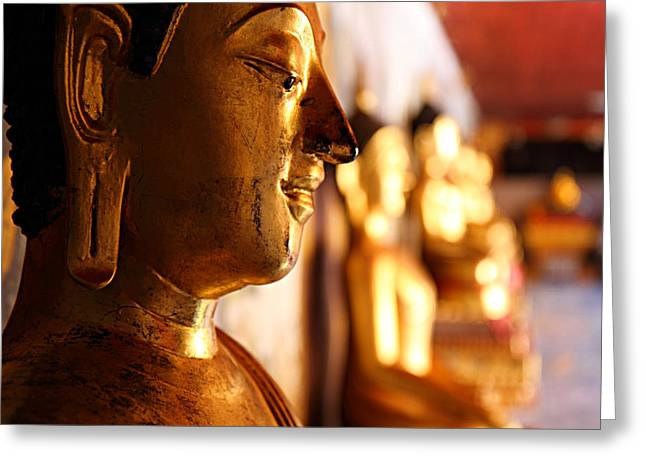 Gold Buddha At Wat Phrathat Doi Suthep Greeting Card