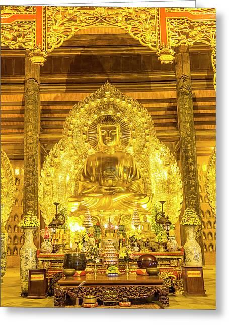 Gold Buddha, Bai Dinh, Ninh Binh Greeting Card by Peter Adams