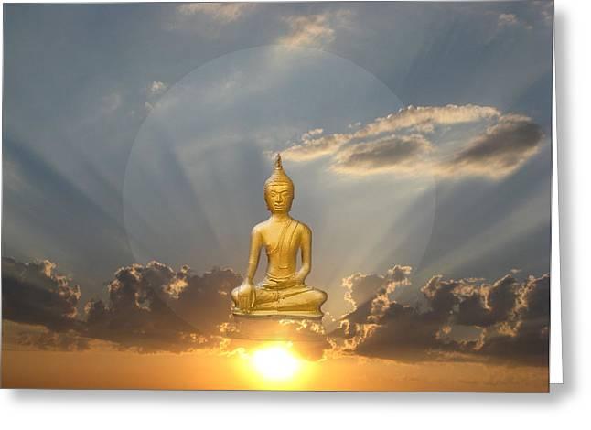 Gold Buddha Meditation Greeting Card by Gill Piper
