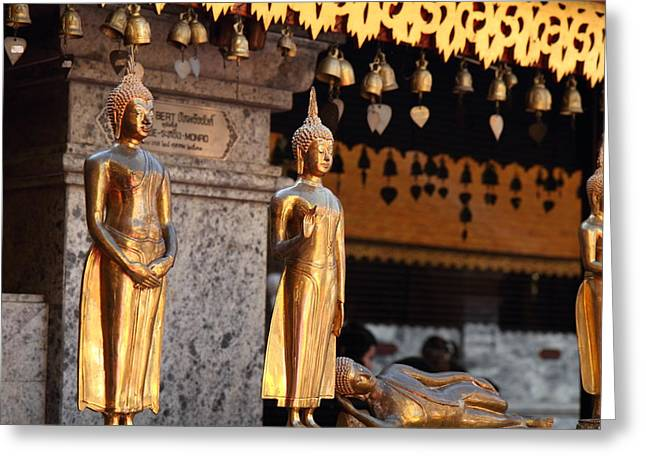 Gold Buddha - Wat Phrathat Doi Suthep - Chiang Mai Thailand - 01132 Greeting Card by DC Photographer