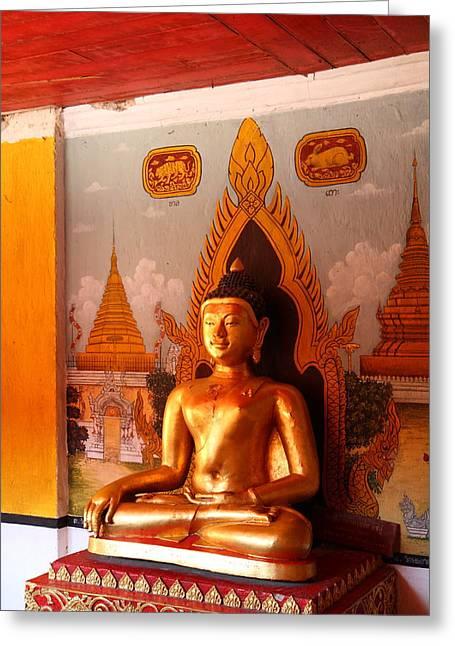Gold Buddha - Wat Phrathat Doi Suthep - Chiang Mai Thailand - 01134 Greeting Card by DC Photographer