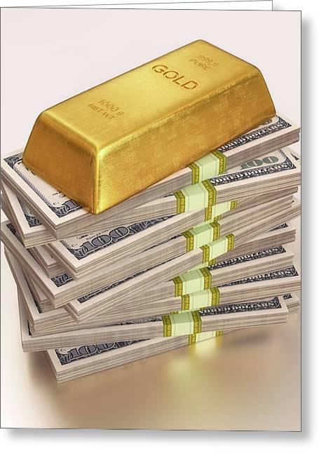Gold Bullion And Us Dollars Greeting Card by Ktsdesign