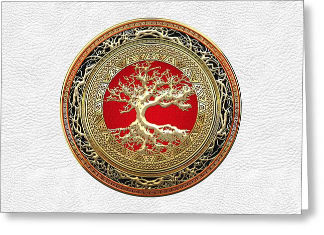 Gold Celtic Tree Of Life On White Leather  Greeting Card by Serge Averbukh