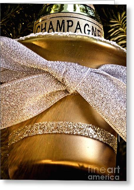Gold Champagne Ornament Greeting Card by Birgit Tyrrell
