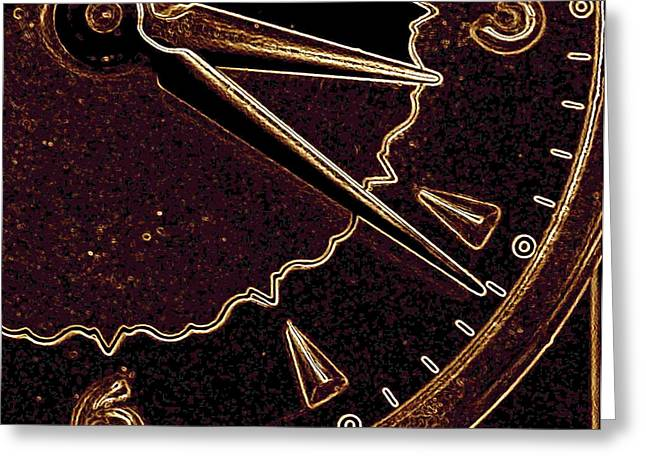 Greeting Card featuring the photograph Gold Clock by Michael Dohnalek