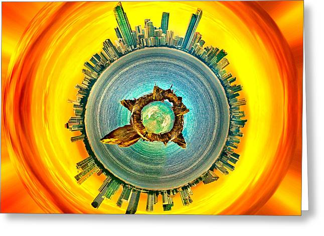 Gold Coast Skyline 2 Circagraph Greeting Card by Az Jackson