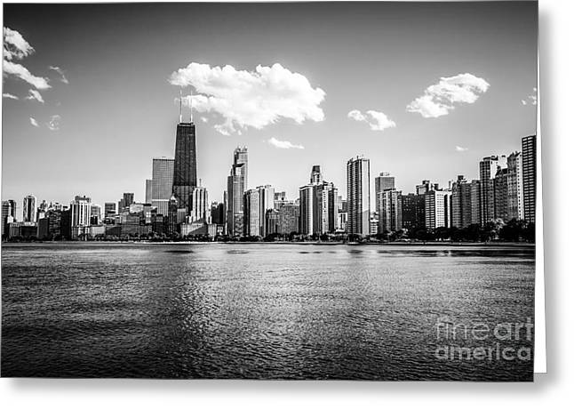 Gold Coast Skyline In Chicago Black And White Picture Greeting Card by Paul Velgos