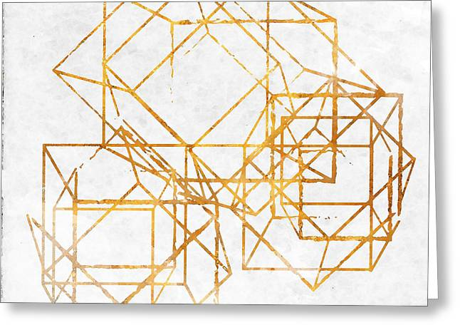 Gold Cubed II Greeting Card by South Social Studio