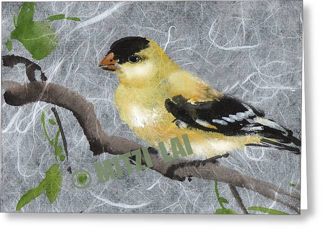 Gold Finch Greeting Card by Mitzi Lai