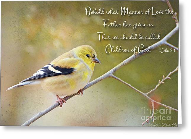 Gold Finch On Twig With Verse Greeting Card by Debbie Portwood