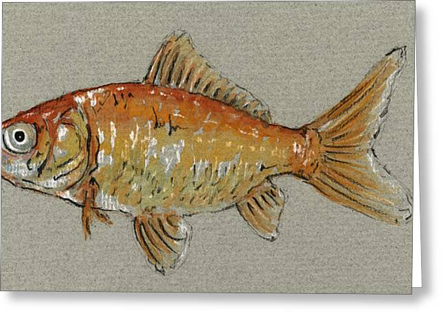 Gold Fish Greeting Card by Juan  Bosco