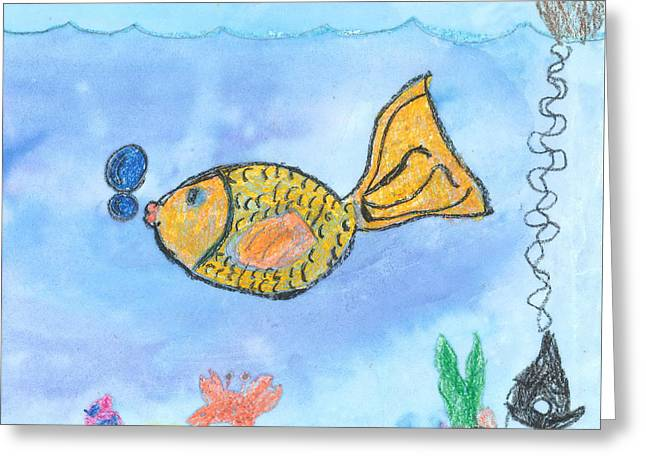 Greeting Card featuring the drawing Gold Fish by Fred Hanna
