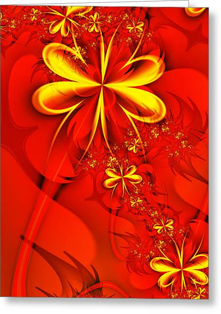 Gold Flowers Greeting Card by Lena Auxier