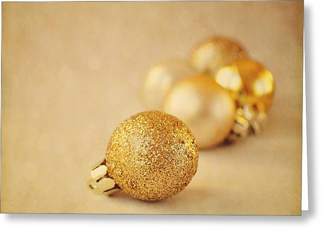 Gold Glittery Christmas Baubles Greeting Card
