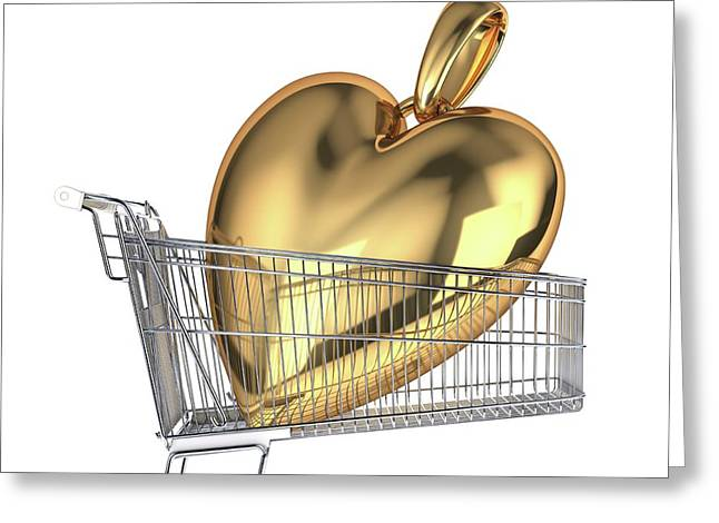 Gold Heart In A Shopping Trolley Greeting Card