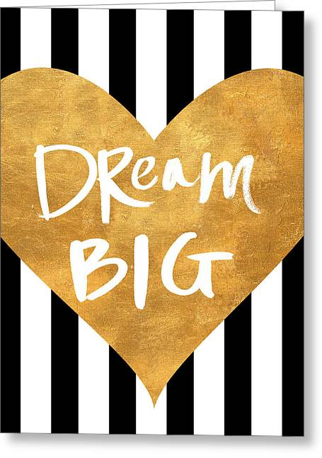 Gold Heart On Stripes I Greeting Card by South Social Graphics