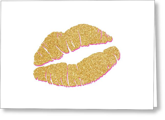 Gold Kiss Greeting Card by South Social Studio