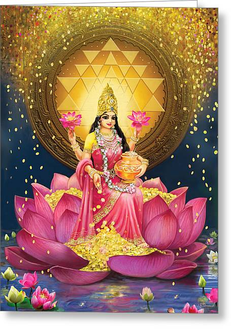 Gold Lakshmi Greeting Card by Lila Shravani