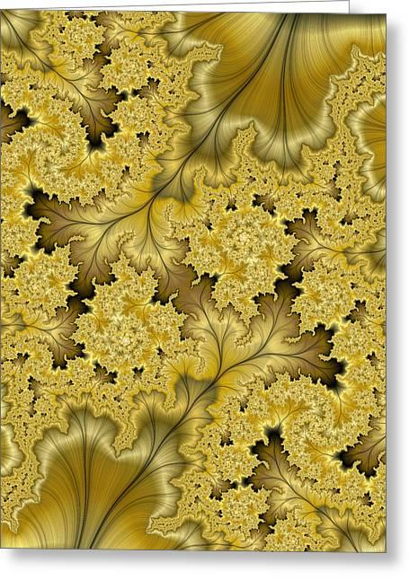 Greeting Card featuring the digital art Gold Leaf by Lea Wiggins