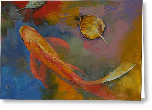 Gold Leaf Greeting Card by Michael Creese