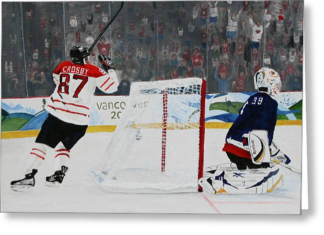 Gold Medal Goal Greeting Card by Betty-Anne McDonald