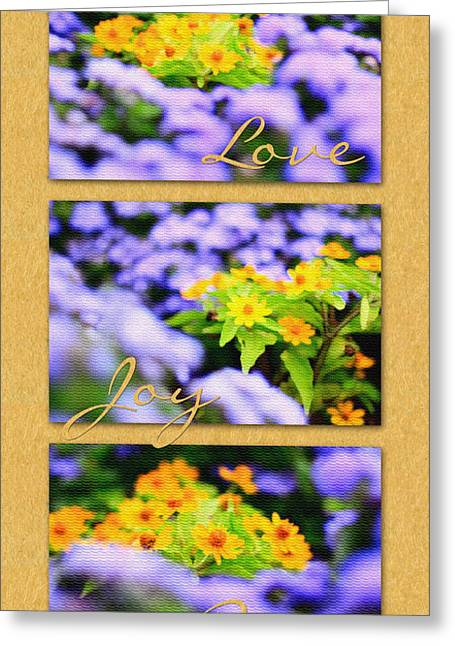 Gold Medallion Flowers With Love Joy Peace Greeting Card by Beverly Claire Kaiya