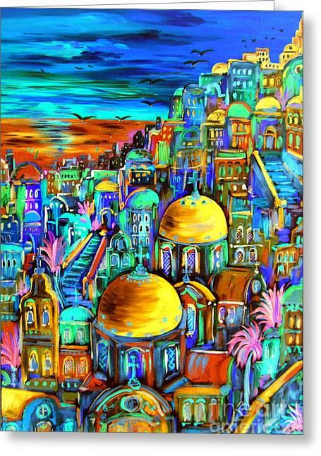 Gold On Santorini Churches Greeting Card