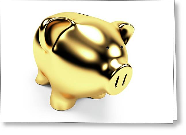 Gold Piggy Bank Greeting Card by Sebastian Kaulitzki