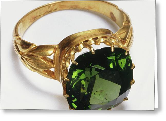Gold Ring With Inset Green Zircon Stone Greeting Card by Dorling Kindersley/uig