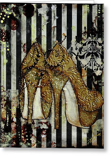 Gold Sequined Shoes With Black And Ivory Striped Background Greeting Card by Janelle Nichol
