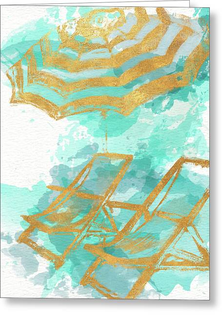 Gold Shore Poster Greeting Card by Patricia Pinto